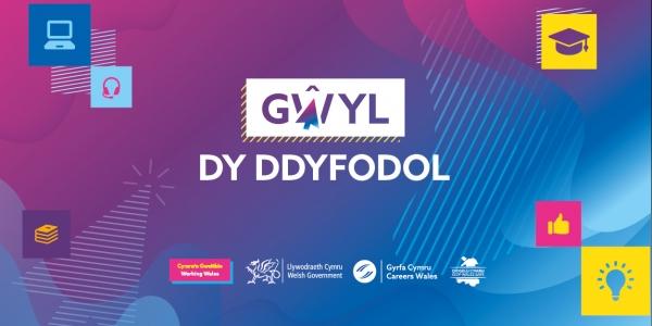 """""""Gŵyl Dy Ddyfodol"""" Logo Cymru'n Gweithio, Llywodraeth Cymru, Gyrfa Cymru"""